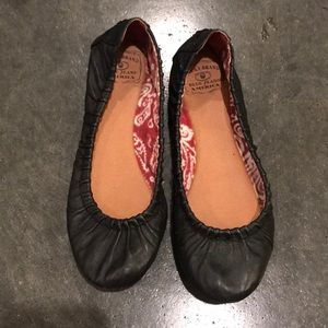 Black Leather Lucky Brand Flats